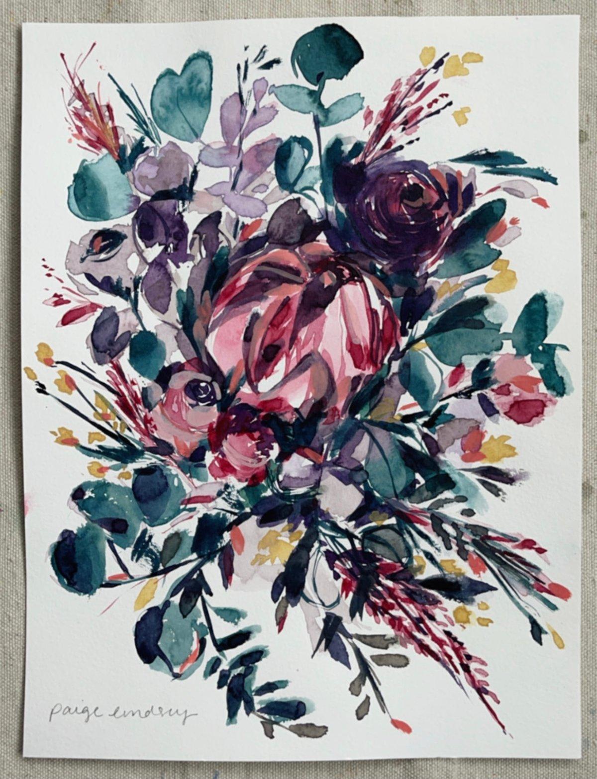 Image of Petal Paradise Bouquet - Original Watercolor Painting