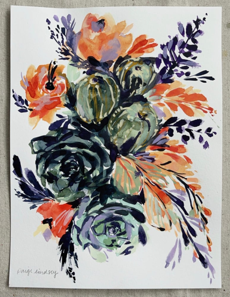 Image of Bright Cactus Bouquet - Original Watercolor Painting