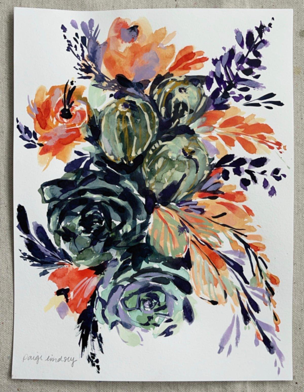 Image of Bright Cactus Bouquet - Original Watercolor Painting