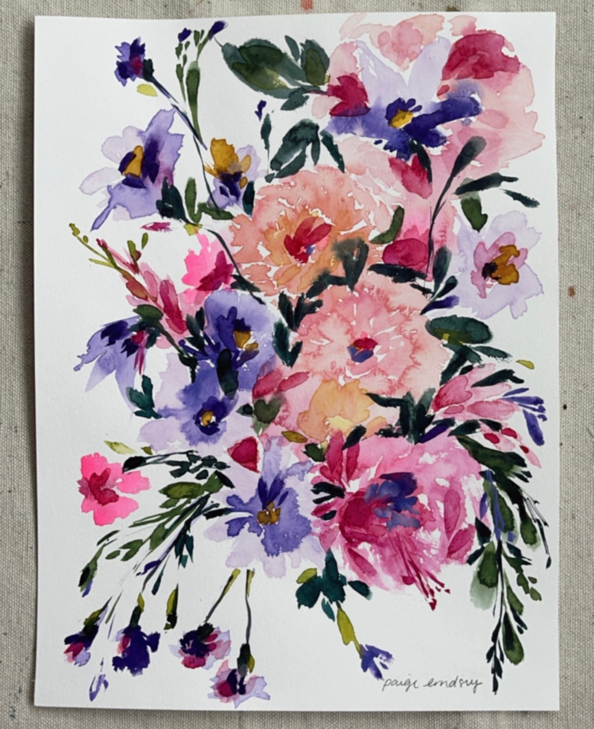 Image of Colorful Wildflower Bouquet - Original Watercolor Painting