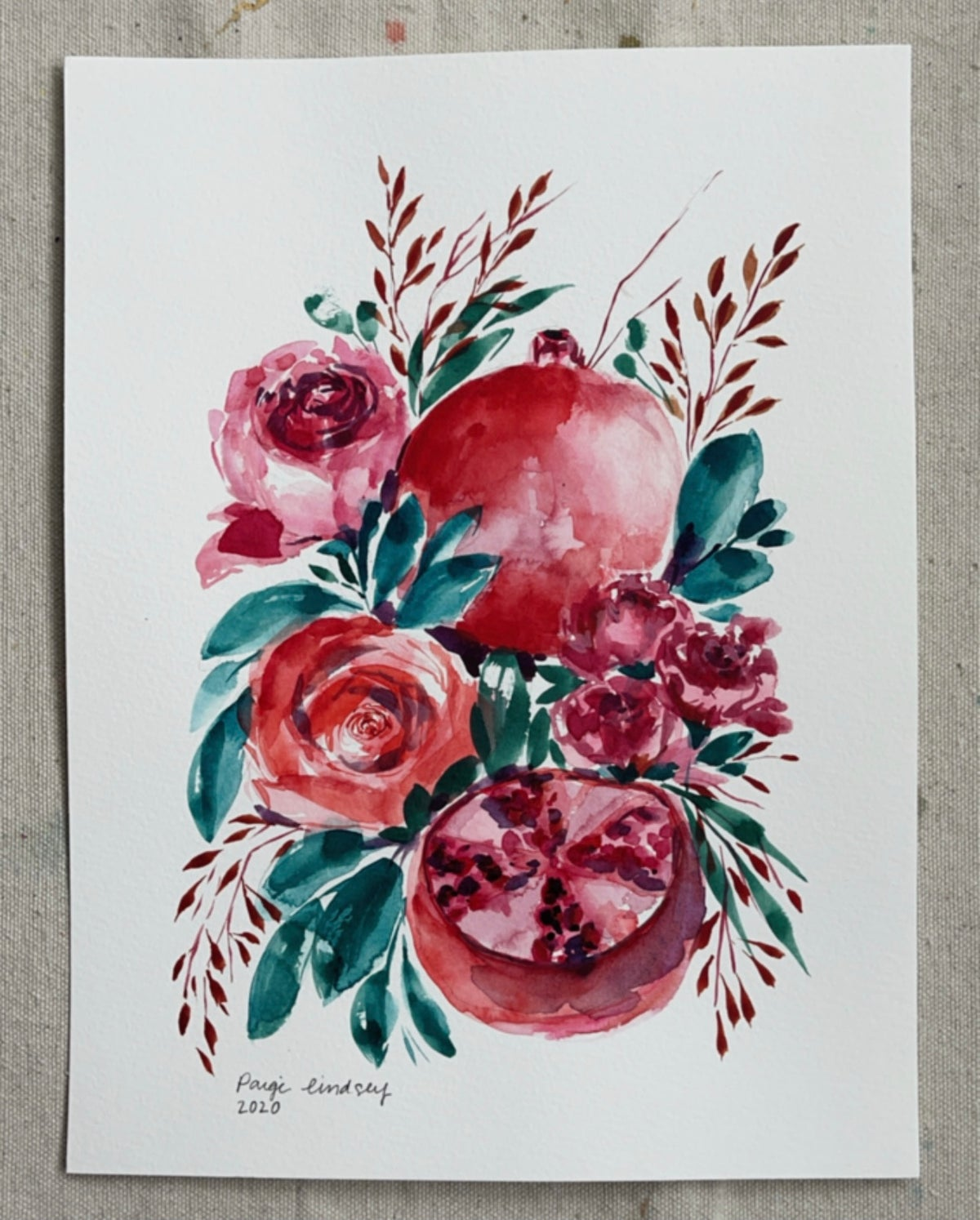Image of Roses and Pomegranates - Original Watercolor Painting