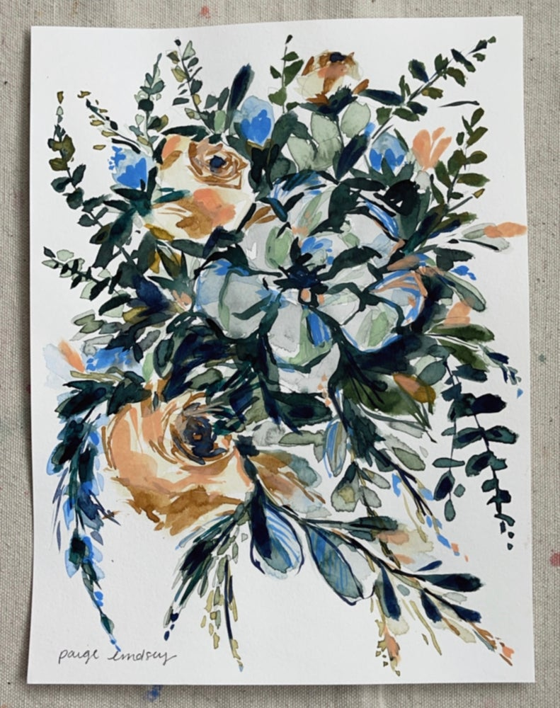 Image of Succulent Bouquet - Original Watercolor Painting