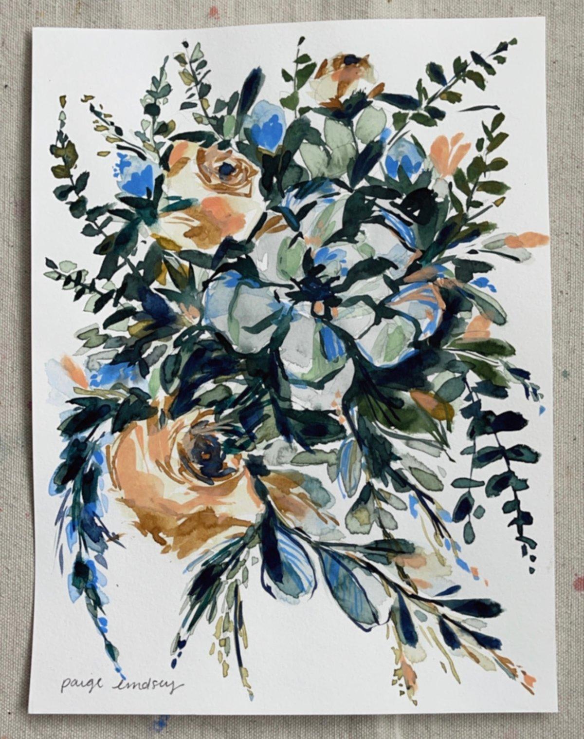Image of Succulent Bouquet - Original Watercolor Painting
