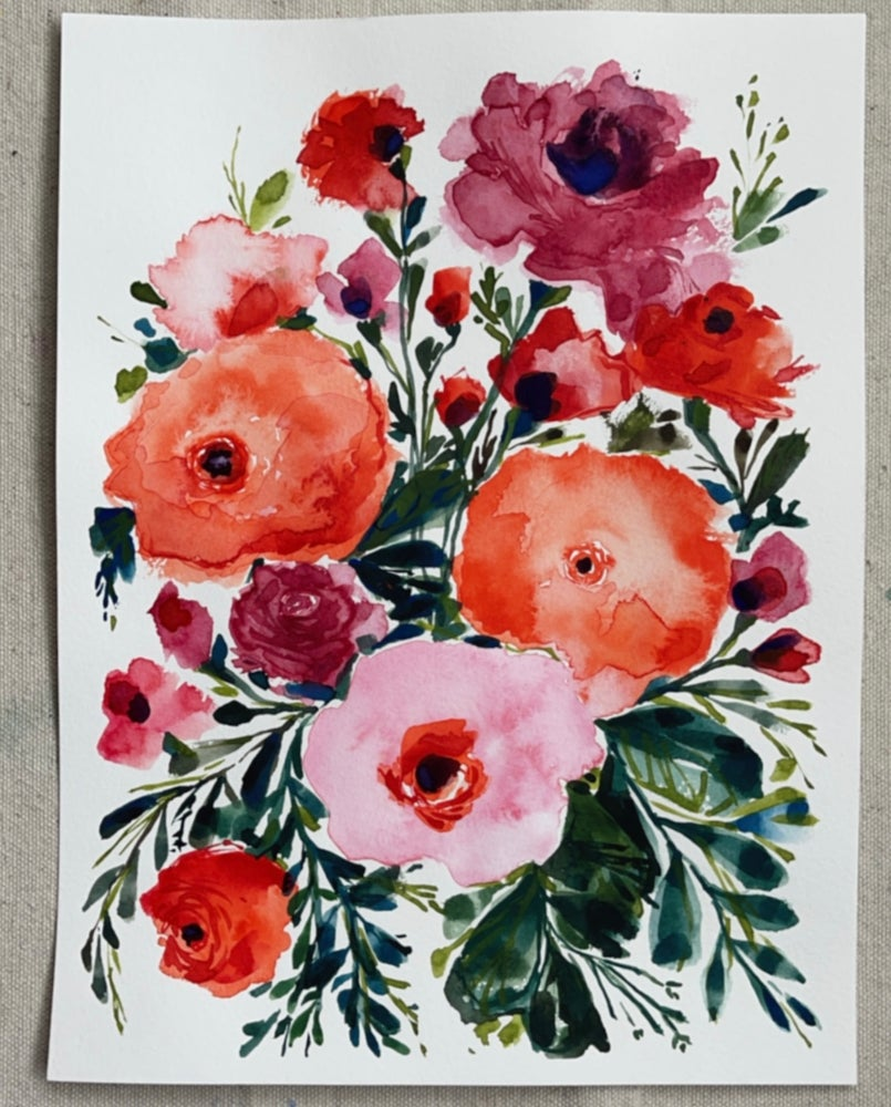 Image of Bright Bouquet - Original Watercolor Painting
