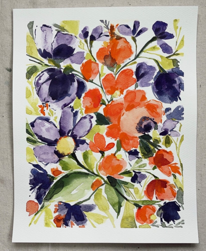 Image of Wild Lilies and Poppies II - Original Watercolor Painting
