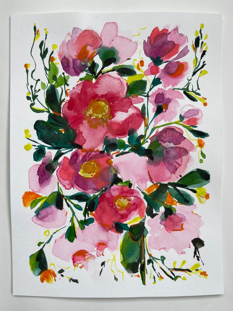 Image of Bright Flower Bouquet - Original Watercolor Painting