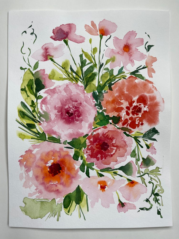 Image of Dahlia Bouquet - Original Watercolor Painting
