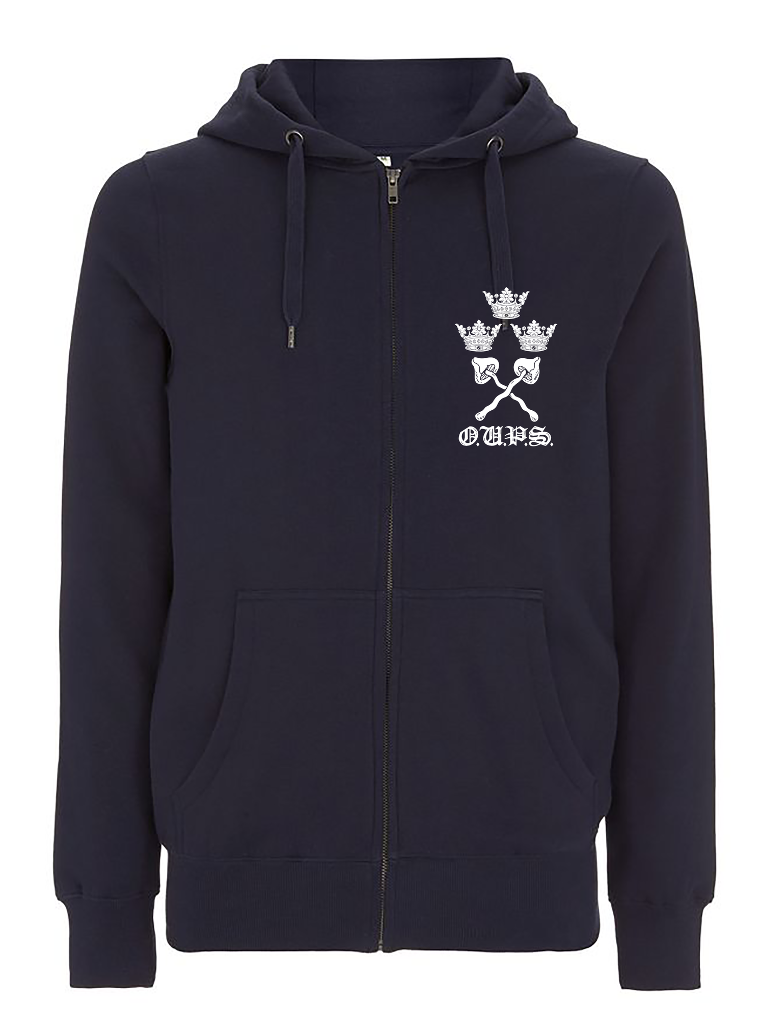 Image of Pre-order varsity unisex zip-up hoodie navy (certified organic cotton by Earth Positive)