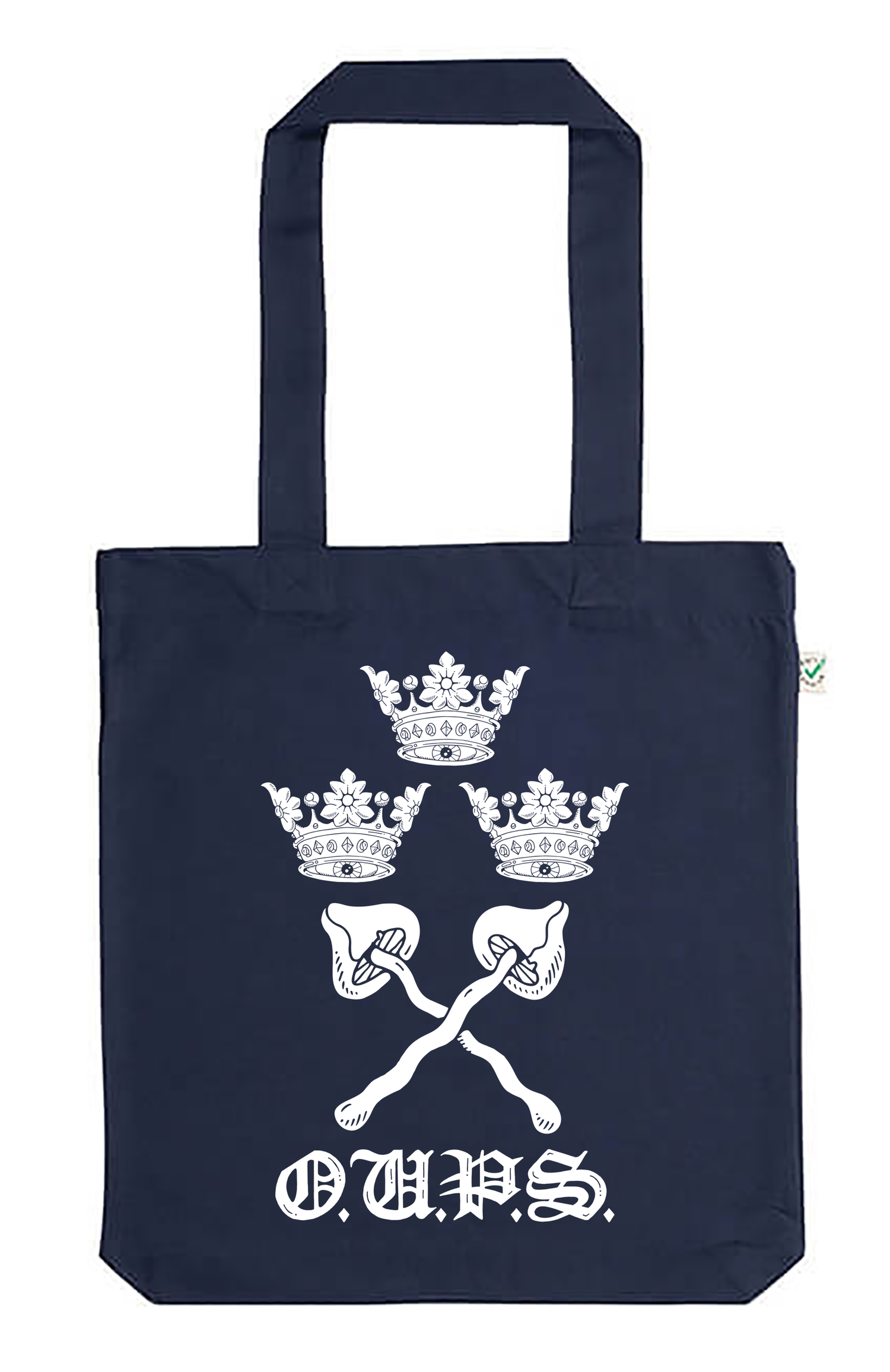 Image of Pre-order varsity classic tote/shopping bag navy (certified organic cotton by Earth Positive)