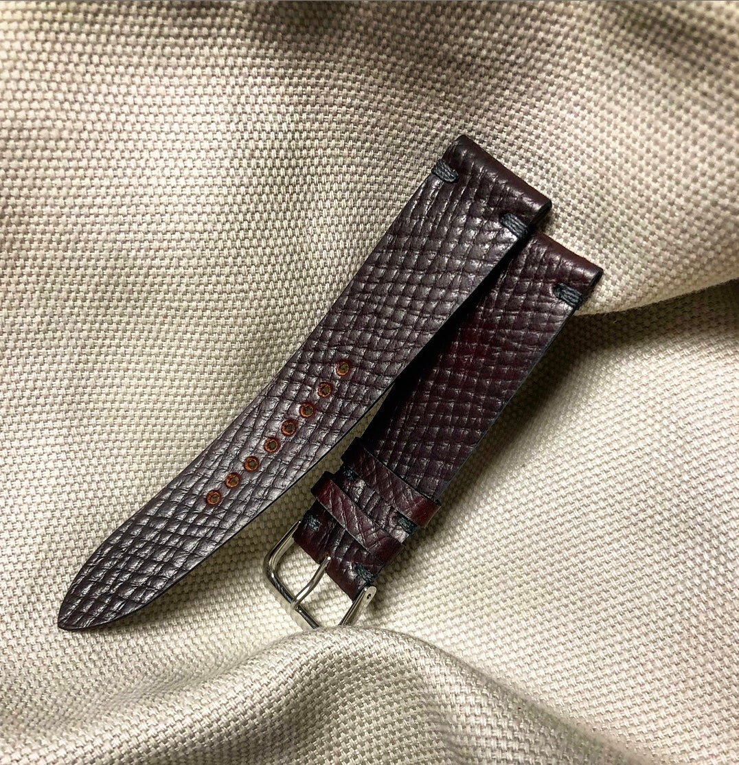 Image of Russian Grain Shell Cordovan unlined classic watch strap with stop stitch