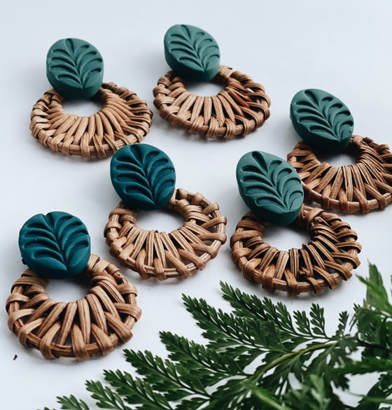 Image of Clay foliage/ rattan earrings