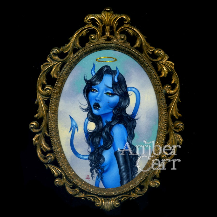 Image of Blue Without You Original Framed Miniature Painting by Amber carr
