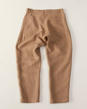 Image of Peaky Blinder Cropped Trouser - Linen Beige