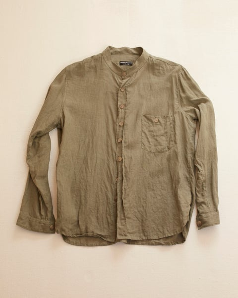 Image of Bed Shirt - Sage Olive linen