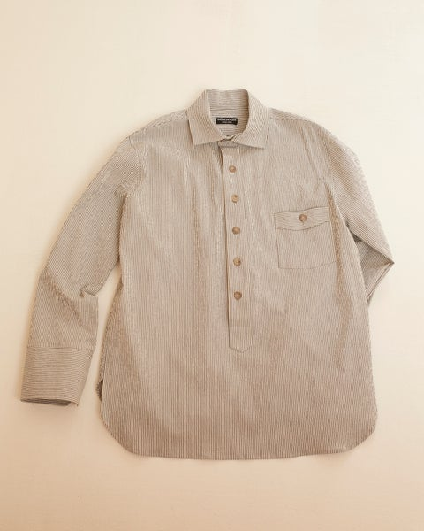 Image of Cuckoo Shirt - Light Grey & Ecru stripe