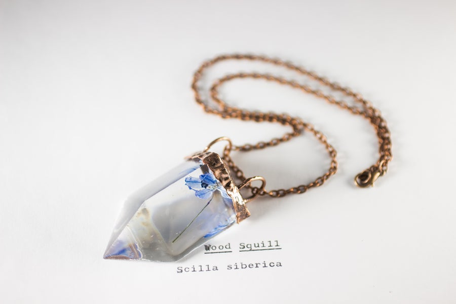 Image of Wood Squill (Scilla siberica) - Small Copper Prism Necklace #2