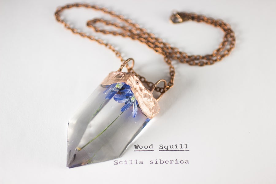 Image of Wood Squill (Scilla siberica) - Small Copper Prism Necklace #4