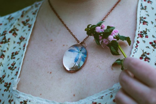 Image of Wood Squill (Scilla siberica) - Copper Plated Necklace #1