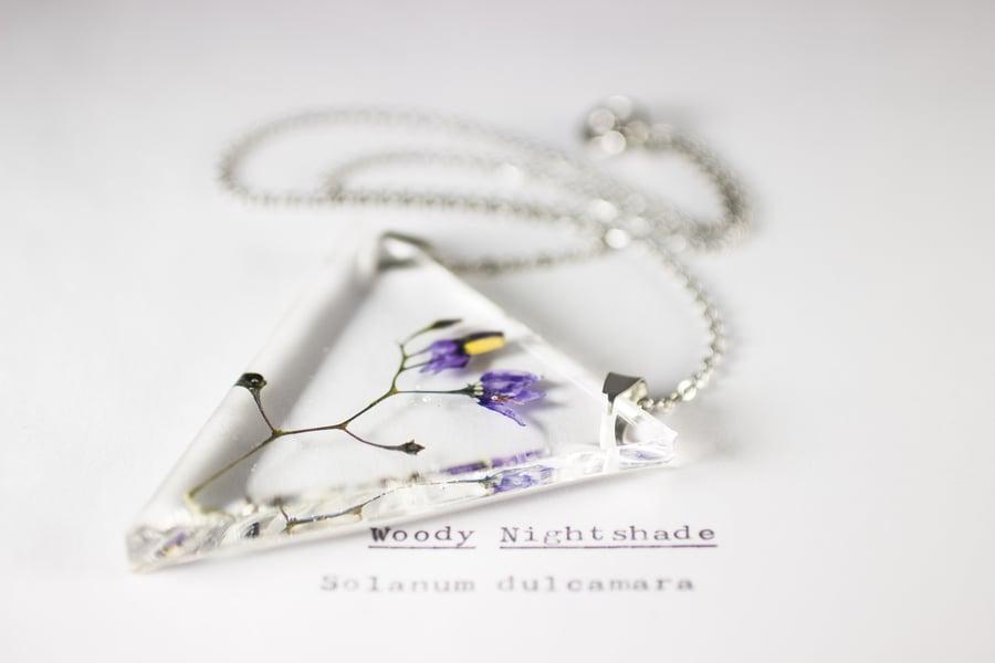 Image of Woody Nightshade (Solanum dulcamara) - Triangular Pressed Pendant #1