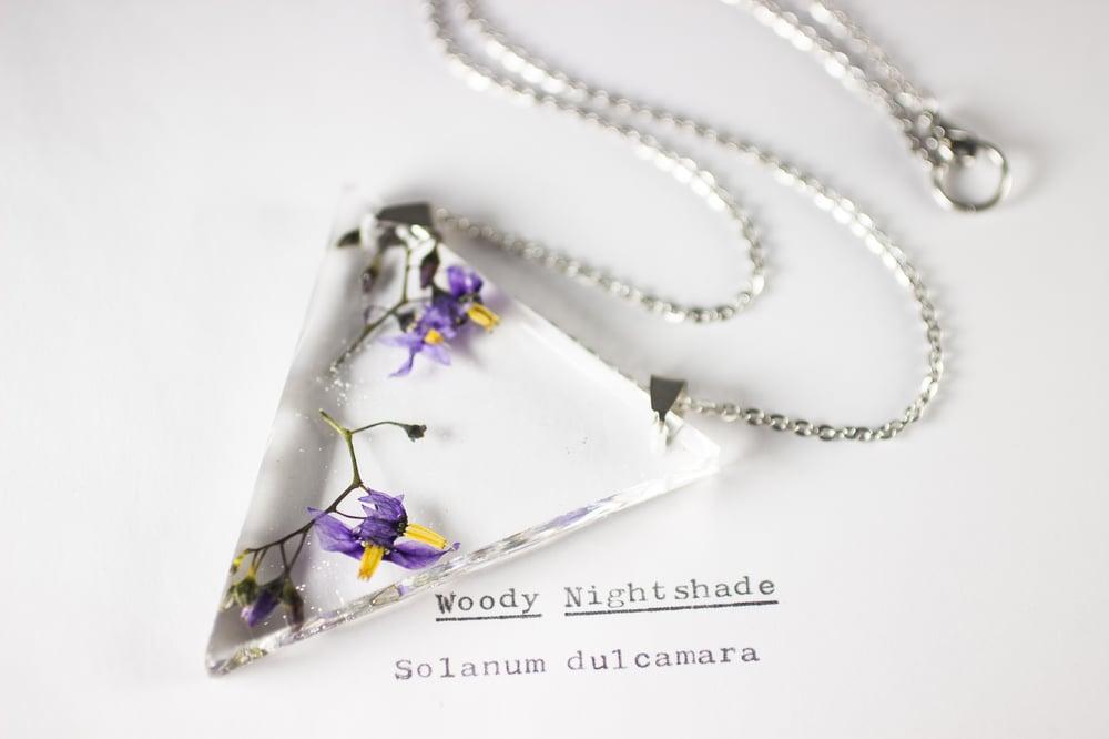 Image of Woody Nightshade (Solanum dulcamara) - Triangular Pressed Pendant #3
