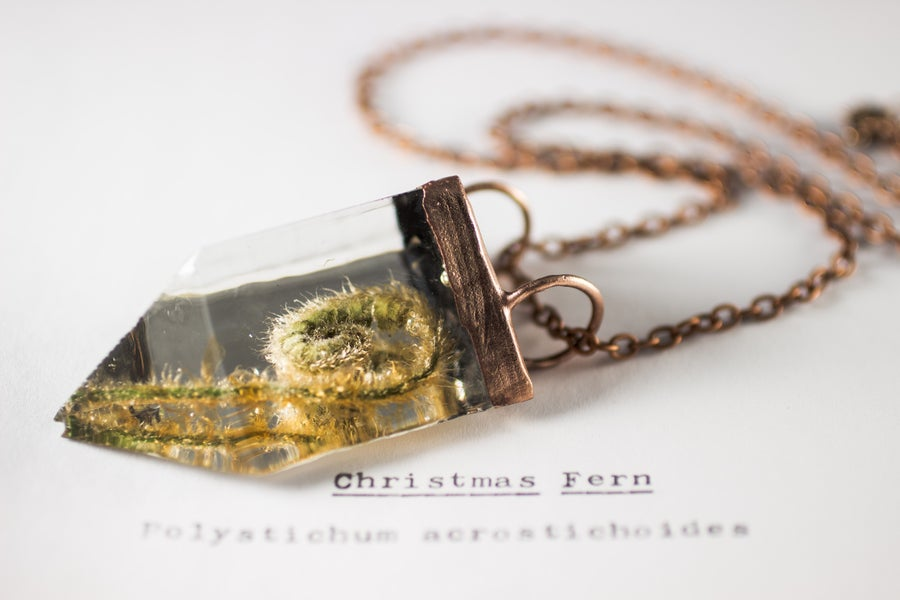Image of Christmas Fern Fiddlehead (Polystichum acrostichoides) - Small Copper Prism Necklace #1