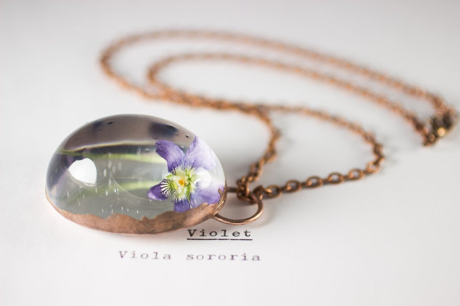 Image of Violet (Viola sororia) - Copper Plated Necklace #3
