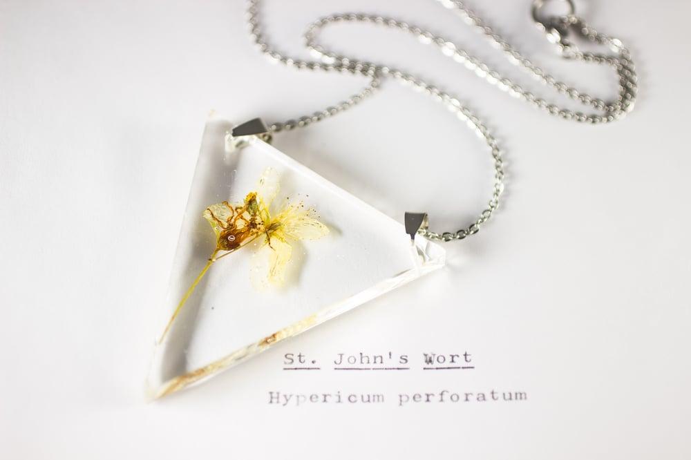 Image of St. John's Wort (Hypericum perforatum) - Triangular Pressed Pendant #1