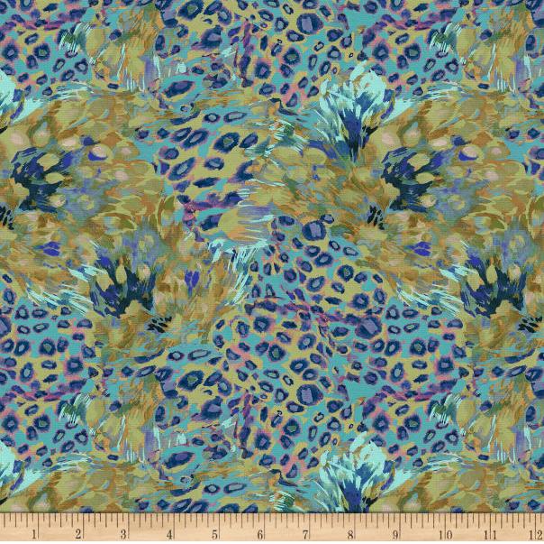 Image of Lush & Wild Cheetah Flowers Blue/Green