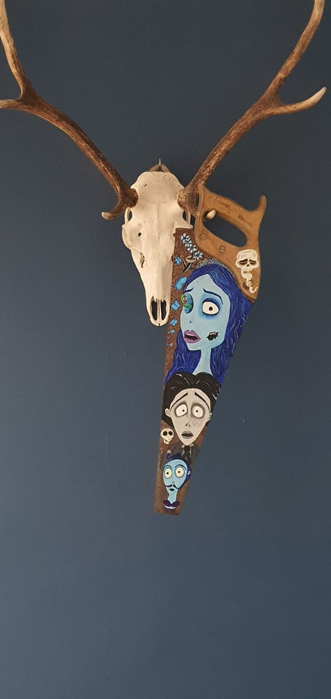 Image of Corpse Bride Hand Painted Vintage Saw