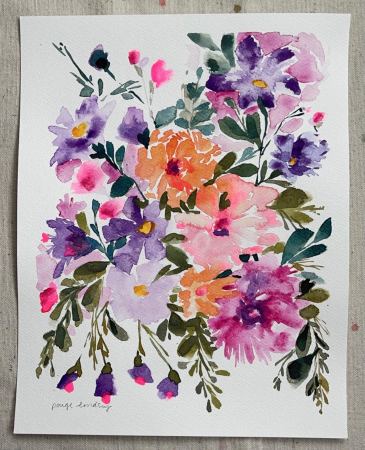 Image of Wild Flower Bouquet II - Original Watercolor Painting