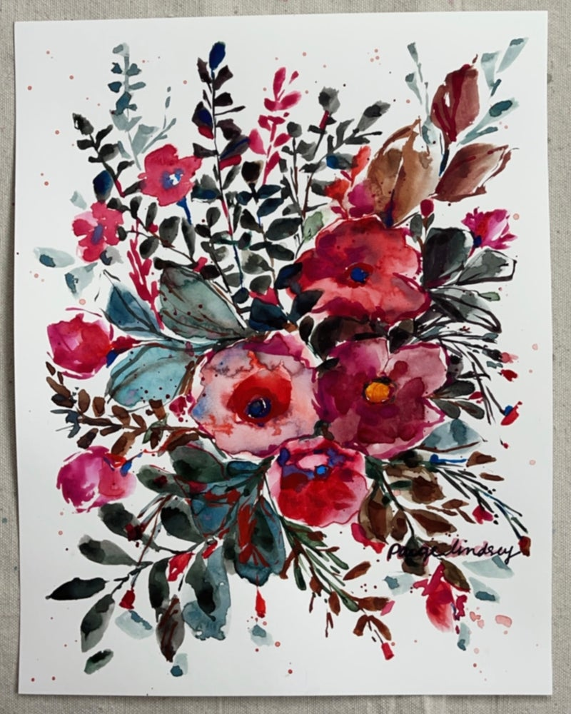 Image of Bold Flower Bouquet - Original Watercolor Painting