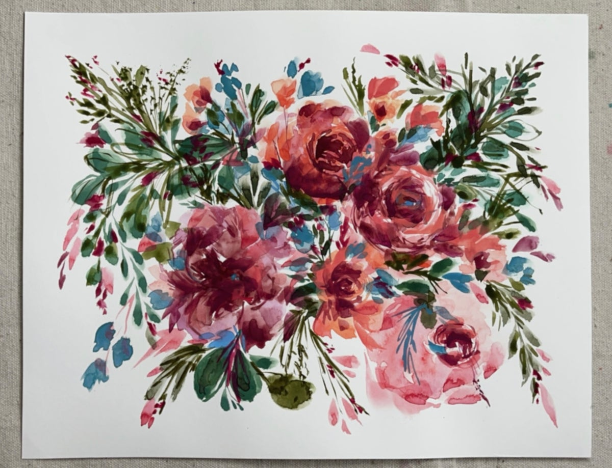 Image of Abstract Flower Bouquet - Original Gouache Painting