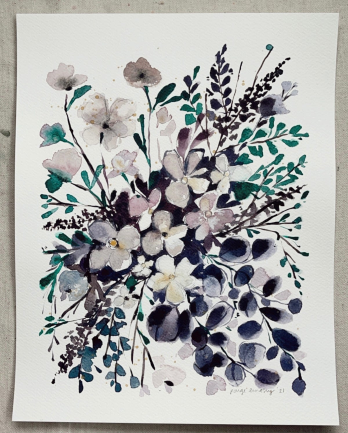 Image of Simple and Sweet Bouquet - Original Watercolor Painting
