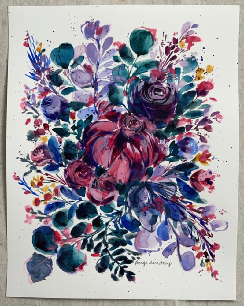 Image of Bright and Beautiful Bouquet - Original Watercolor Painting