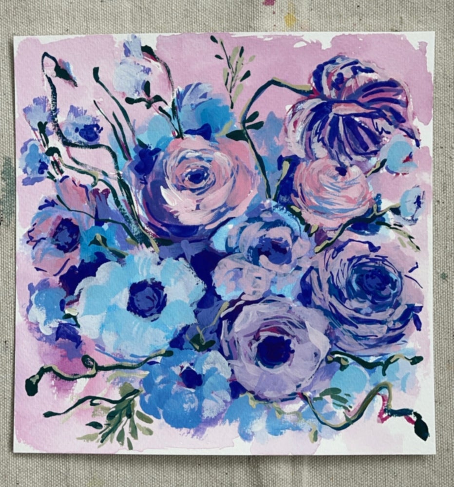 Image of Periwinkle Flower Bouquet - Original Gouache Painting