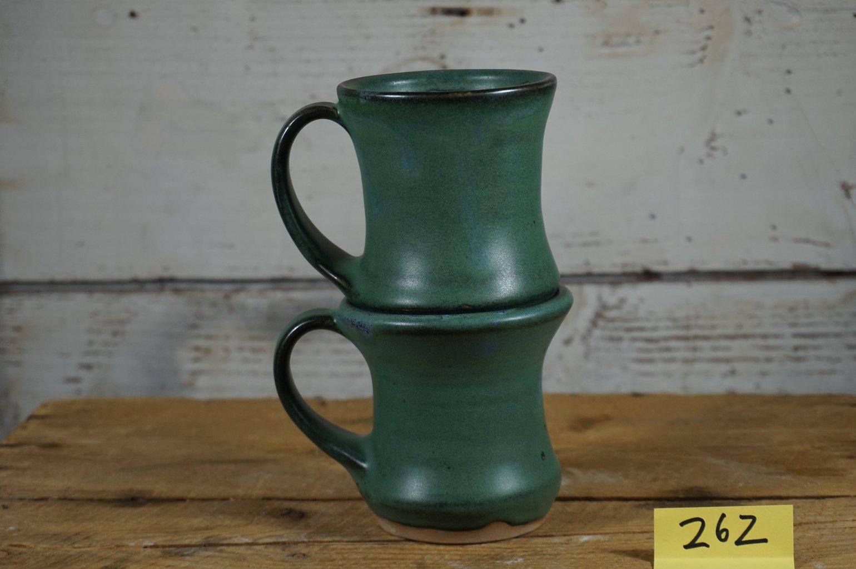 Image of Green hourglass mugs, set of 2