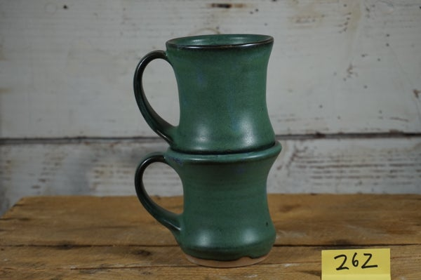 Image of Green hourglass mugs, set of 2