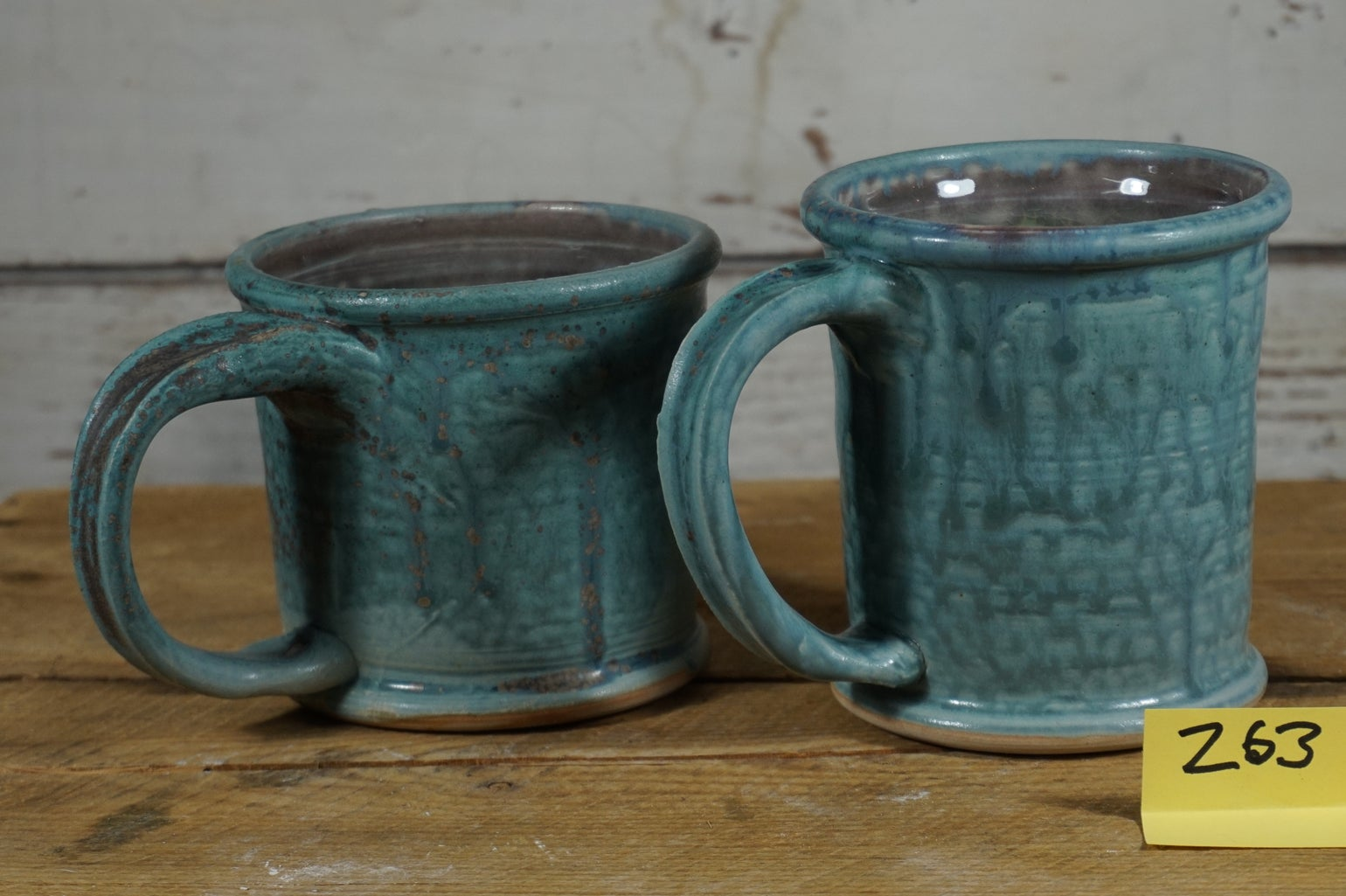 "Image of ""Drowned"" turquoise rolled-rim mugs, set of 2"