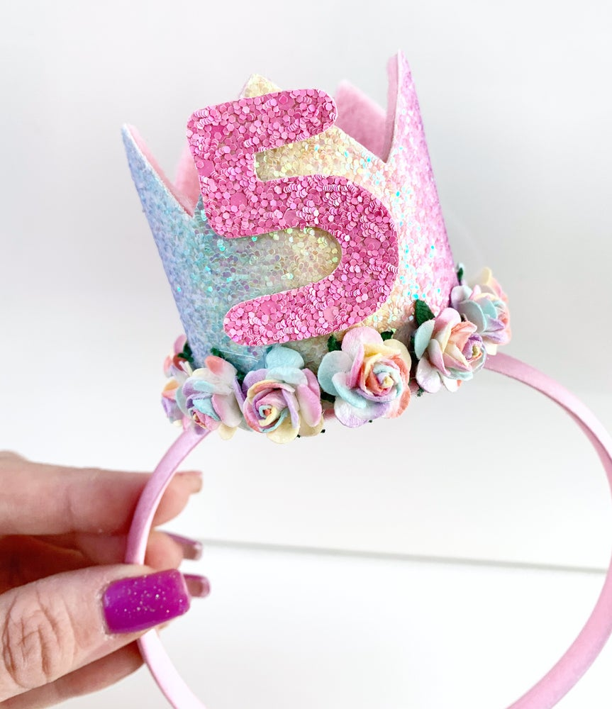 Image of Pastel rainbow birthday crown on Aliceband