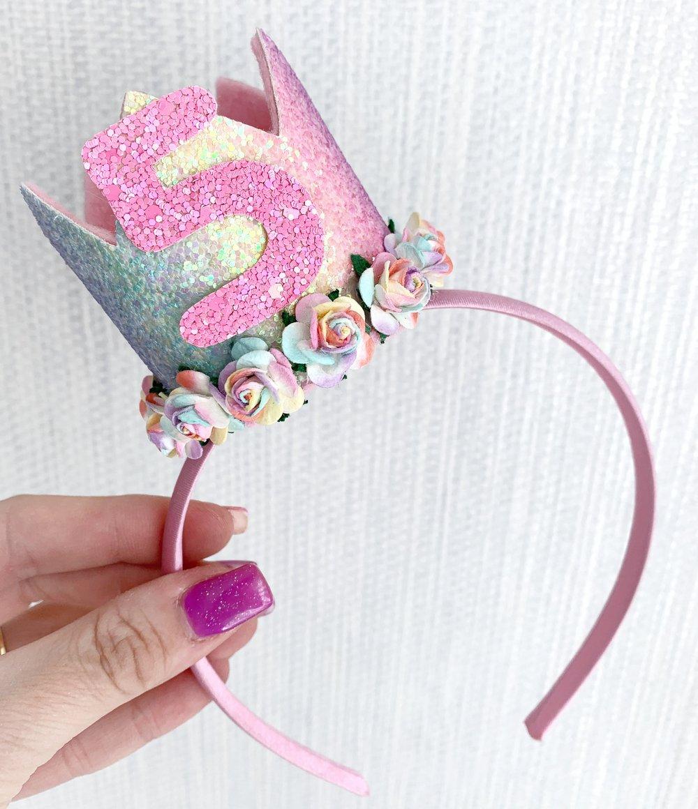 Image of Pastel rainbow birthday crown on Aliceband