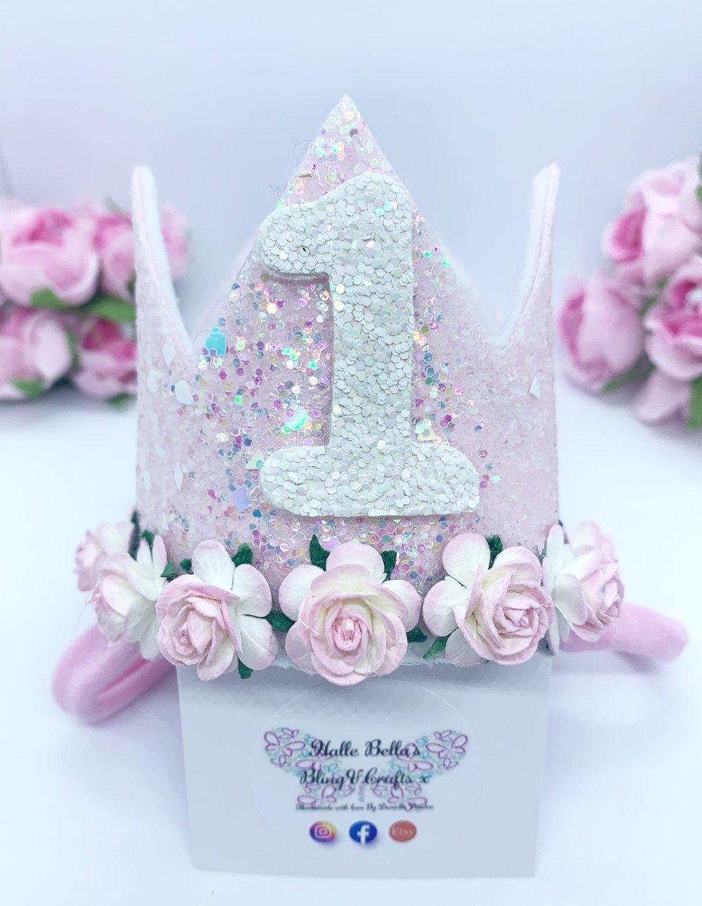 Image of Stunning baby pink Birthday crown