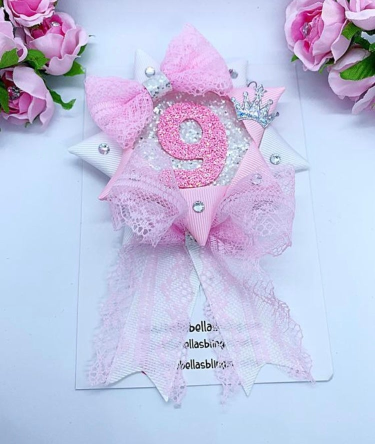 Image of Lace pink & white Birthday rosette badge