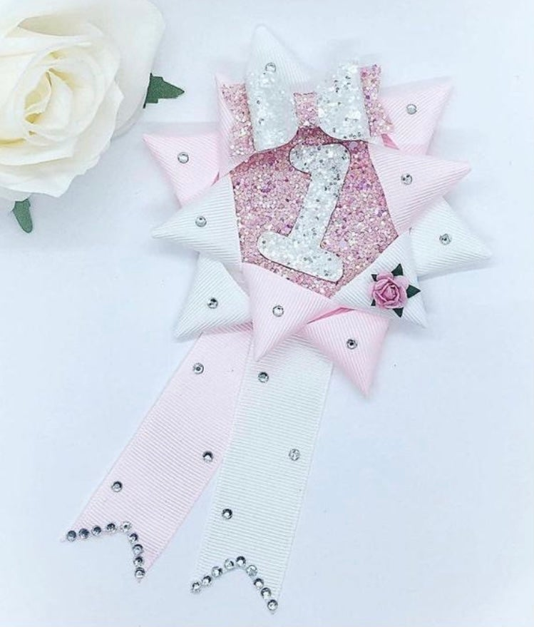 Image of Baby pink and white Birthday Rosette