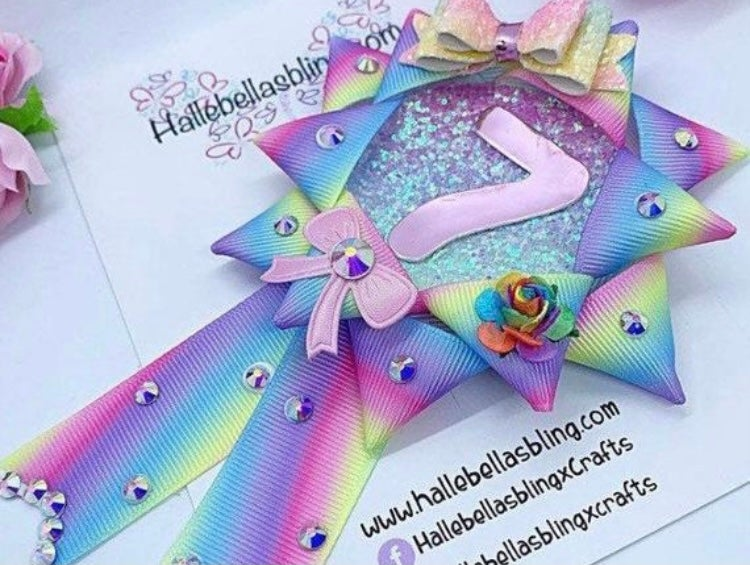 Image of Pastel rainbow Birthday Rosette