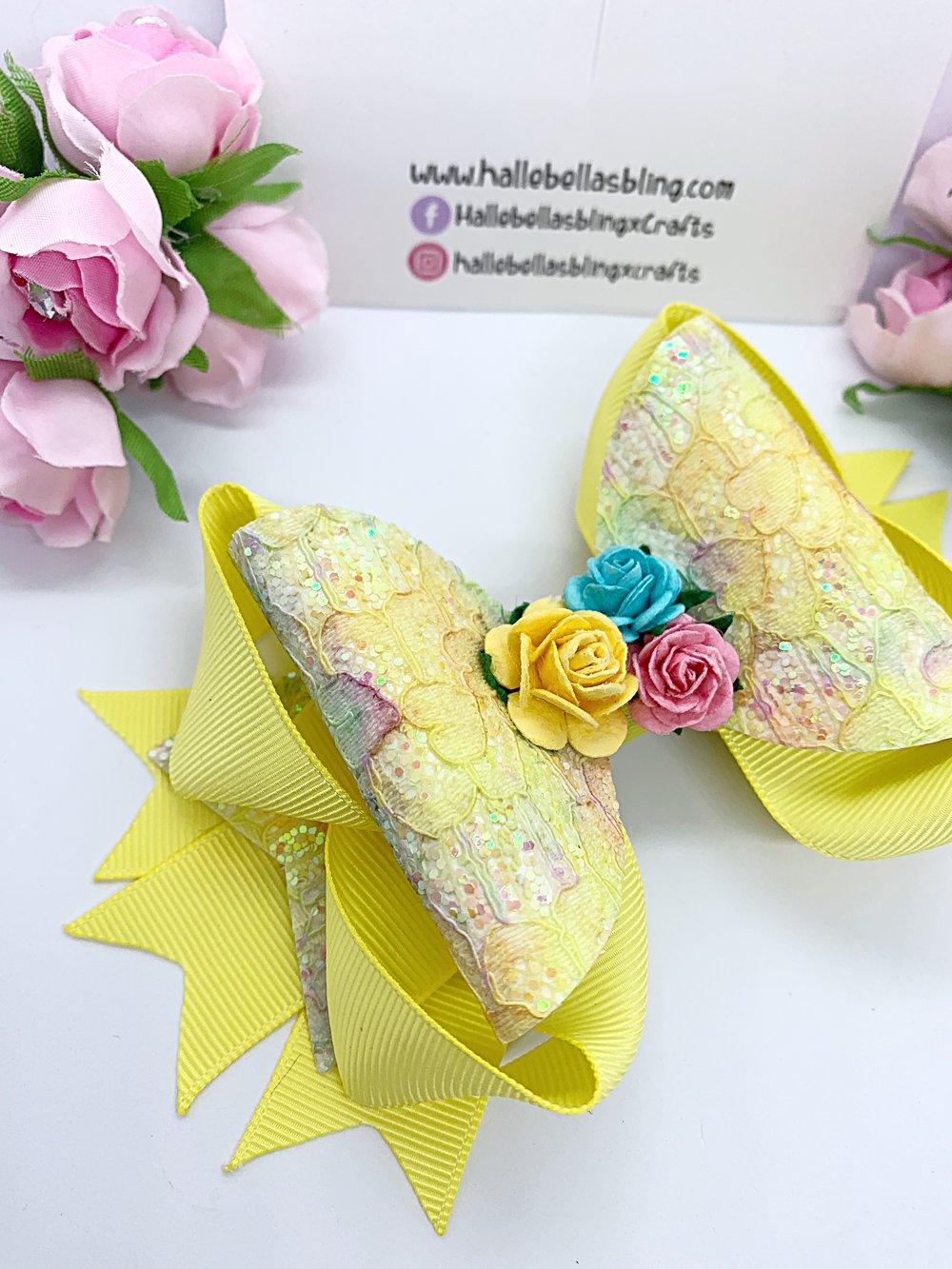 Image of Stunning lemon lace glitter stacker flower bow