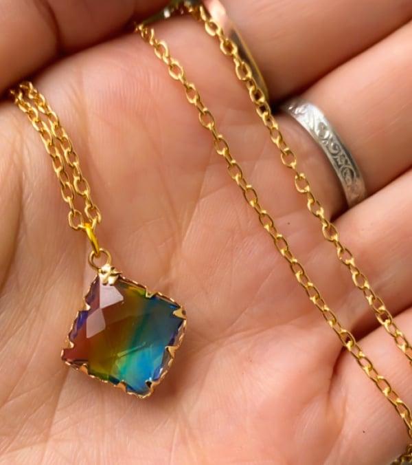 Image of rainbow gem necklace