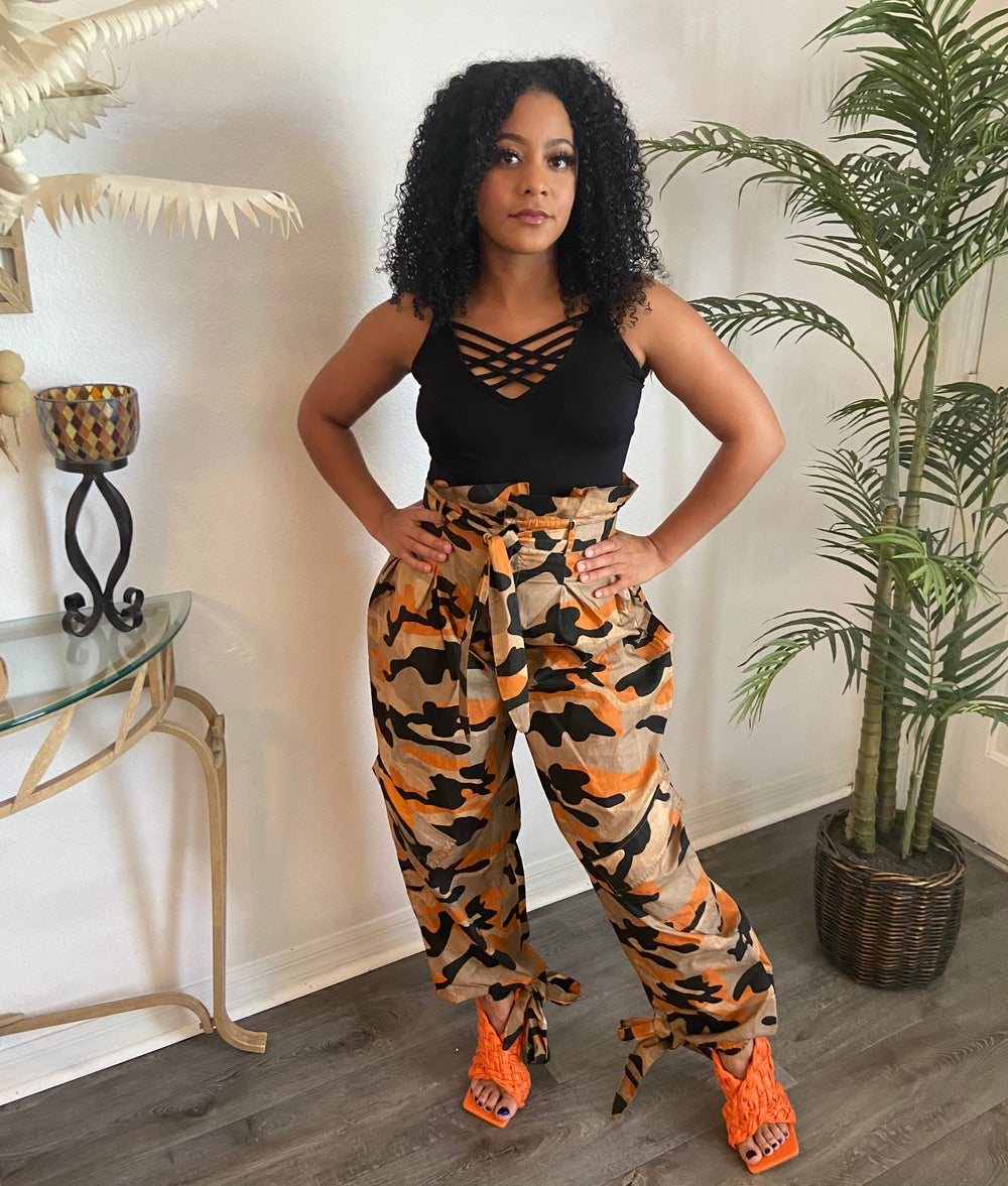 Image of Camouflage Paperbag Waist Pants in Orange
