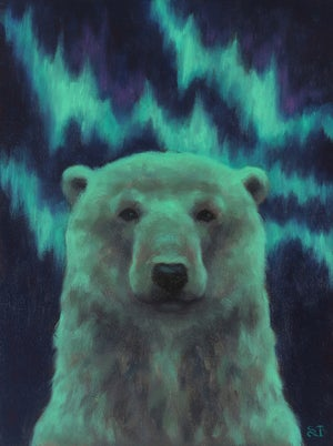 """Image of Study for """"Green Aurora"""" Original Oil Painting"""