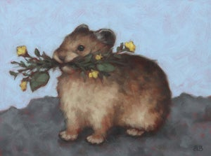 "Image of Study for ""Foraging Pika"" Original Oil Painting"