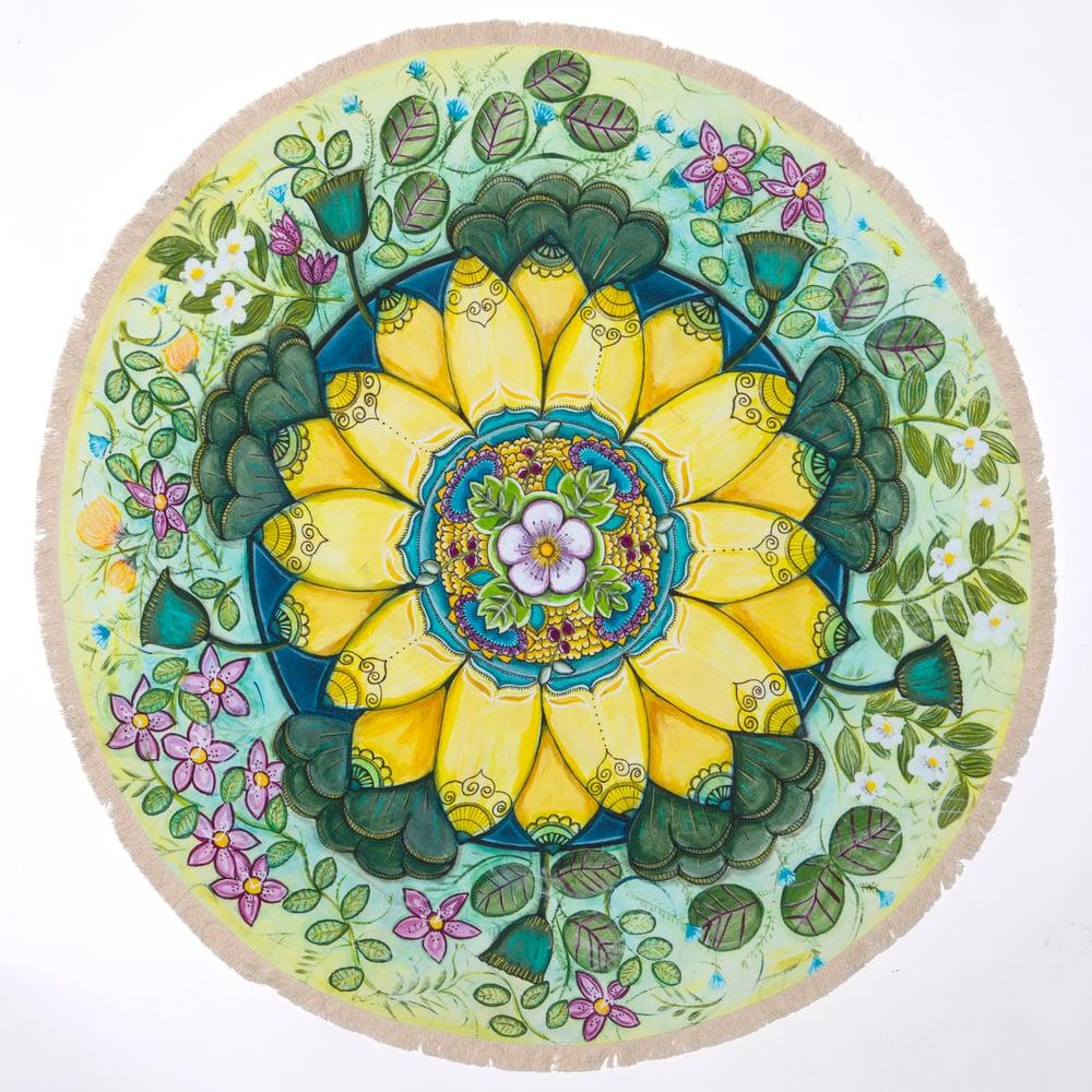 "Image of ""Spiritual Restoration""- Yellow Lotus Textile Meditation Mat with fringe"